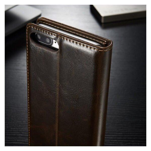 39449 - Кожаный чехол CaseMe003 для iPhone X с подставкой-держателем, слотами для карт и кошельком: PU-кожа, бизнес-стиль