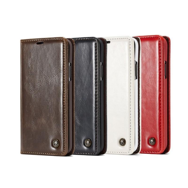 Кожаный чехол CaseMe003 для iPhone 7/8 с подставкой-держателем, слотами для карт и кошельком: PU-кожа, бизнес-стиль - Черный