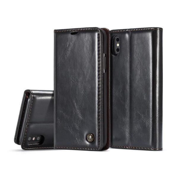 39485 - Кожаный чехол CaseMe003 для iPhone 7/8 с подставкой-держателем, слотами для карт и кошельком: PU-кожа, бизнес-стиль