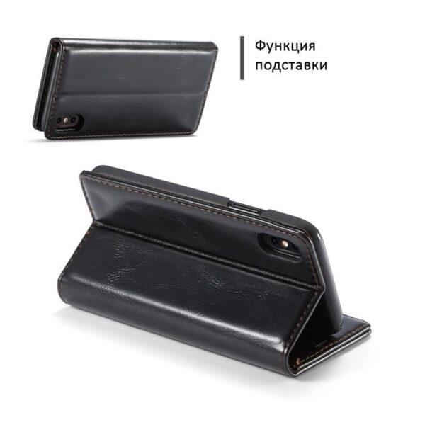 39494 - Кожаный чехол CaseMe003 для iPhone 8 Plus/ 7 Plus с подставкой-держателем, слотами для карт и кошельком: PU-кожа, бизнес-стиль