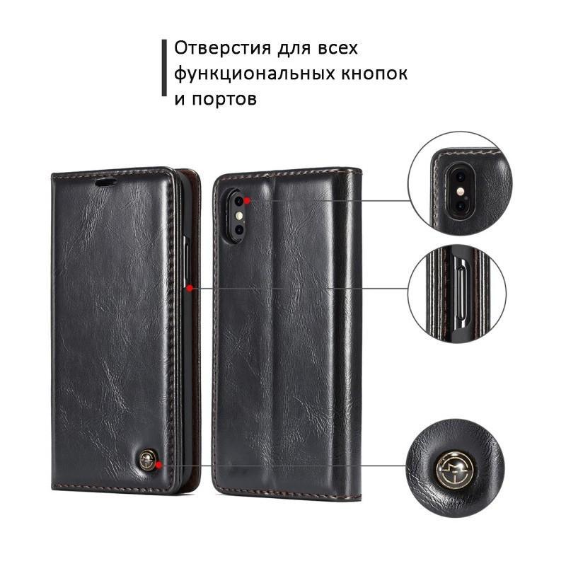 Кожаный чехол CaseMe003 для iPhone 8 Plus/ 7 Plus с подставкой-держателем, слотами для карт и кошельком: PU-кожа, бизнес-стиль 215056