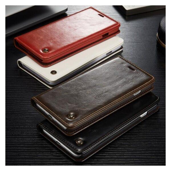 39499 - Кожаный чехол CaseMe003 для iPhone 8 Plus/ 7 Plus с подставкой-держателем, слотами для карт и кошельком: PU-кожа, бизнес-стиль