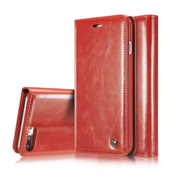39500 - Кожаный чехол CaseMe003 для iPhone 8 Plus/ 7 Plus с подставкой-держателем, слотами для карт и кошельком: PU-кожа, бизнес-стиль
