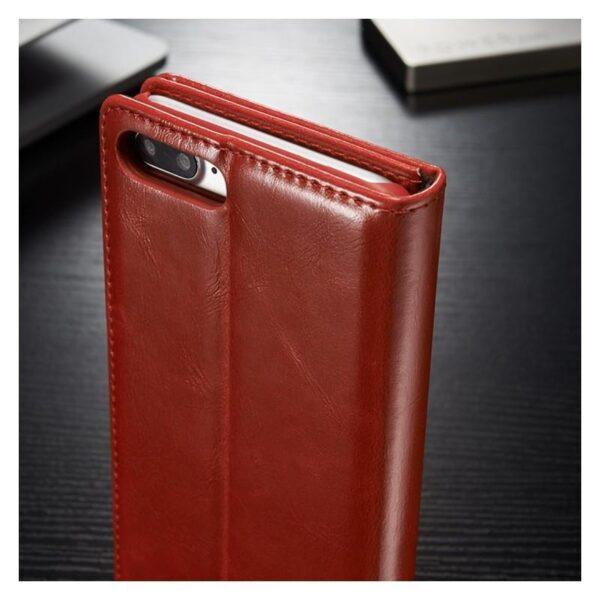 39503 - Кожаный чехол CaseMe003 для iPhone 8 Plus/ 7 Plus с подставкой-держателем, слотами для карт и кошельком: PU-кожа, бизнес-стиль