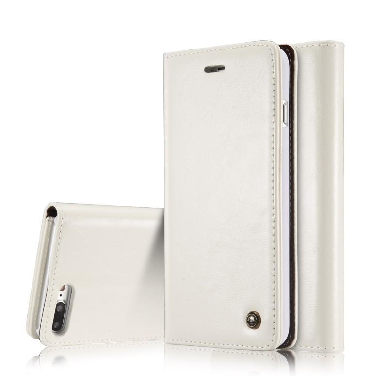 39504 - Кожаный чехол CaseMe003 для iPhone 8 Plus/ 7 Plus с подставкой-держателем, слотами для карт и кошельком: PU-кожа, бизнес-стиль
