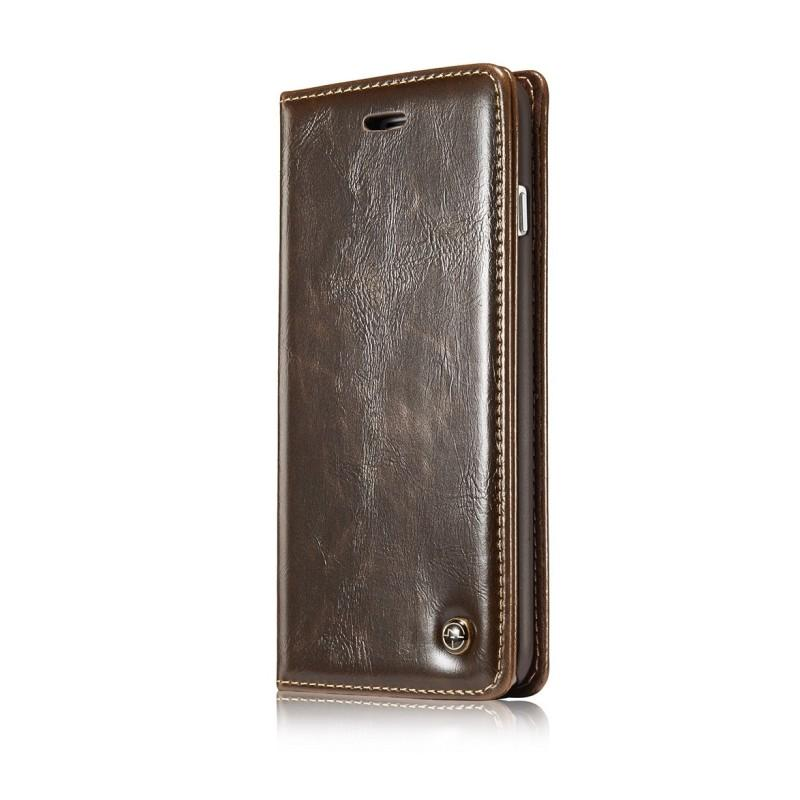 Кожаный чехол CaseMe003 для iPhone 8 Plus/ 7 Plus с подставкой-держателем, слотами для карт и кошельком: PU-кожа, бизнес-стиль 215066