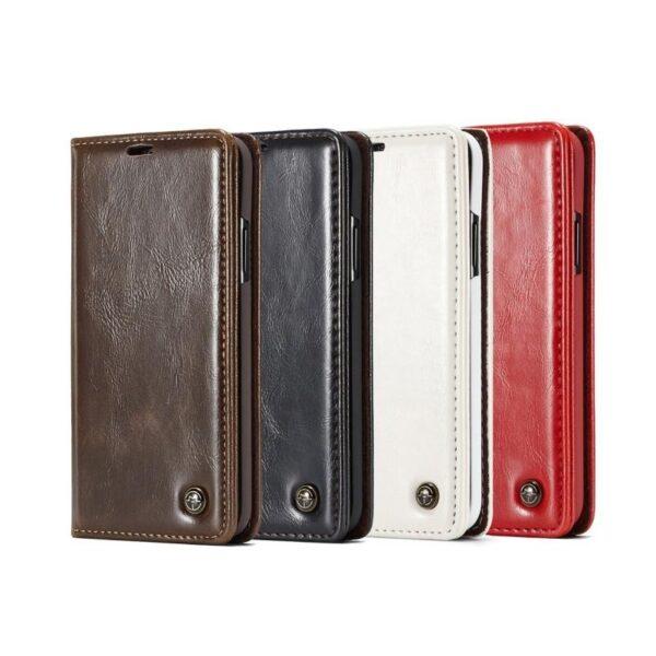 39512 - Кожаный чехол CaseMe003 для iPhone 8 Plus/ 7 Plus с подставкой-держателем, слотами для карт и кошельком: PU-кожа, бизнес-стиль