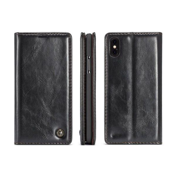 39514 - Кожаный чехол CaseMe003 для iPhone 8 Plus/ 7 Plus с подставкой-держателем, слотами для карт и кошельком: PU-кожа, бизнес-стиль
