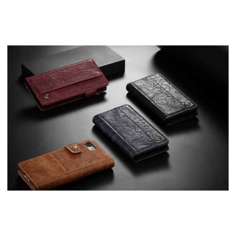 Кожаный чехол-кошелек CaseMe i8 для iPhone 8/ 7: слоты для карт и денег, PU-кожа Crazy Horse, бизнес-стиль - Черный