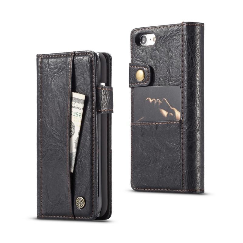 Кожаный чехол-кошелек CaseMe i8 для iPhone 8/ 7: слоты для карт и денег, PU-кожа Crazy Horse, бизнес-стиль 215096