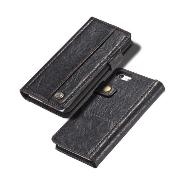 39566 - Кожаный чехол-кошелек CaseMe i8 для iPhone 8/ 7: слоты для карт и денег, PU-кожа Crazy Horse, бизнес-стиль