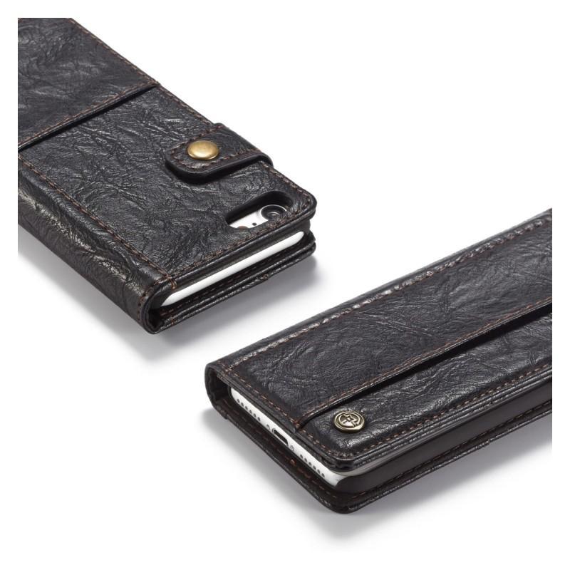 Кожаный чехол-кошелек CaseMe i8 для iPhone 8/ 7: слоты для карт и денег, PU-кожа Crazy Horse, бизнес-стиль 215098