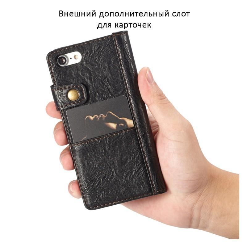 Кожаный чехол-кошелек CaseMe i8 для iPhone 8/ 7: слоты для карт и денег, PU-кожа Crazy Horse, бизнес-стиль 215100
