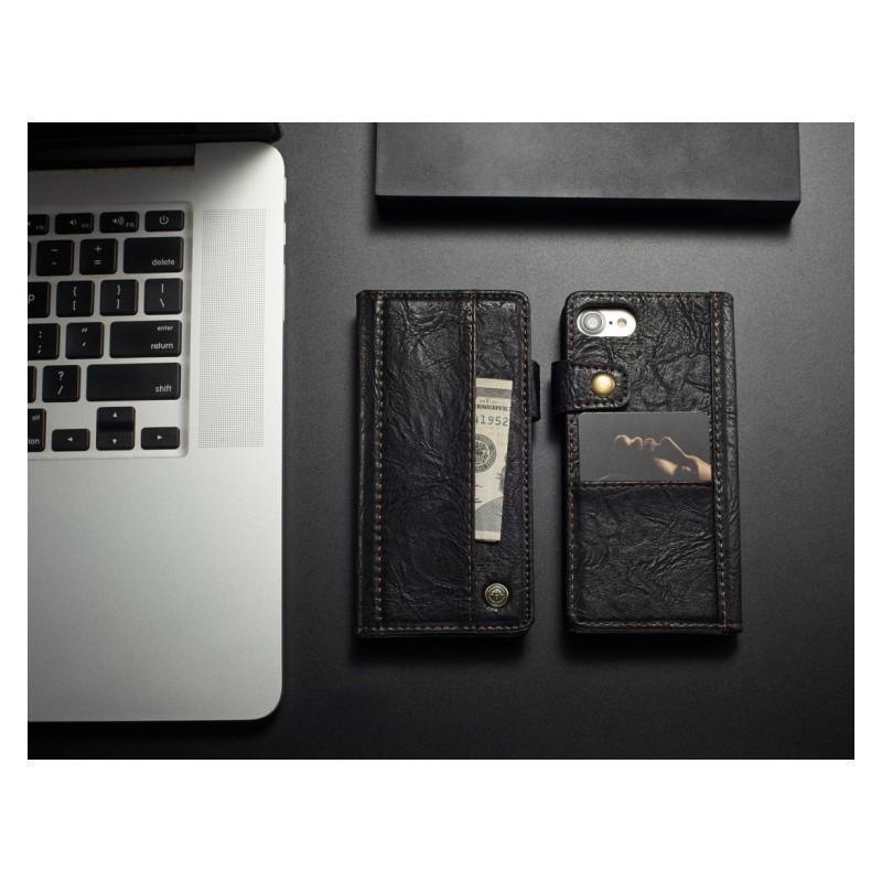 Кожаный чехол-кошелек CaseMe i8 для iPhone 8/ 7: слоты для карт и денег, PU-кожа Crazy Horse, бизнес-стиль 215102