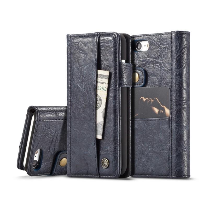 Кожаный чехол-кошелек CaseMe i8 для iPhone 8/ 7: слоты для карт и денег, PU-кожа Crazy Horse, бизнес-стиль 215103