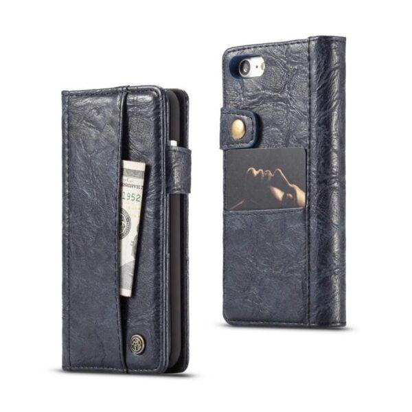 39575 - Кожаный чехол-кошелек CaseMe i8 для iPhone 8/ 7: слоты для карт и денег, PU-кожа Crazy Horse, бизнес-стиль