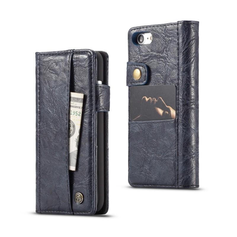 Кожаный чехол-кошелек CaseMe i8 для iPhone 8/ 7: слоты для карт и денег, PU-кожа Crazy Horse, бизнес-стиль 215106