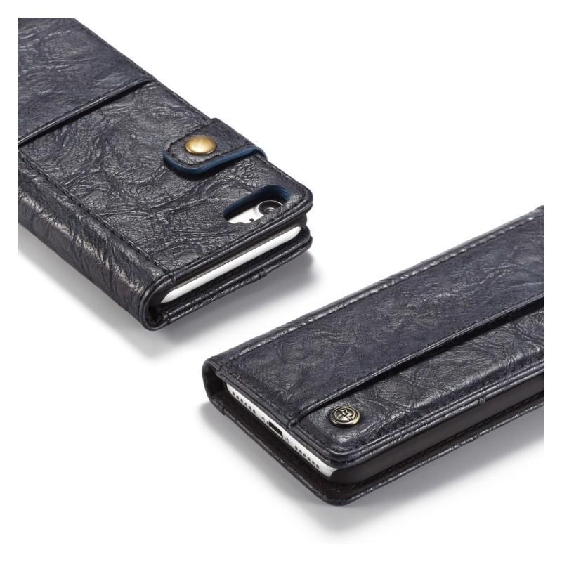 Кожаный чехол-кошелек CaseMe i8 для iPhone 8/ 7: слоты для карт и денег, PU-кожа Crazy Horse, бизнес-стиль 215108