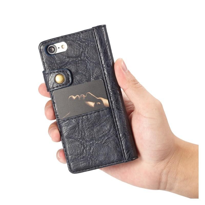 Кожаный чехол-кошелек CaseMe i8 для iPhone 8/ 7: слоты для карт и денег, PU-кожа Crazy Horse, бизнес-стиль 215110