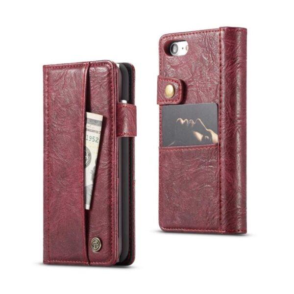 39585 - Кожаный чехол-кошелек CaseMe i8 для iPhone 8/ 7: слоты для карт и денег, PU-кожа Crazy Horse, бизнес-стиль