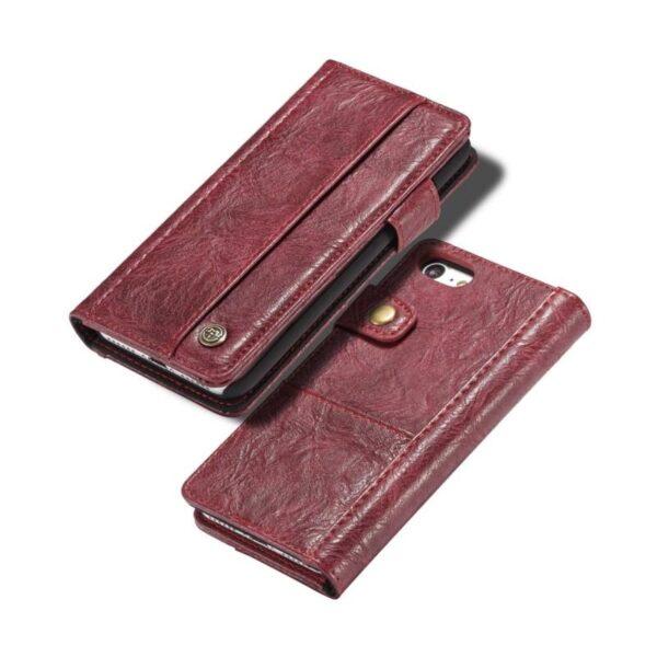 39586 - Кожаный чехол-кошелек CaseMe i8 для iPhone 8/ 7: слоты для карт и денег, PU-кожа Crazy Horse, бизнес-стиль