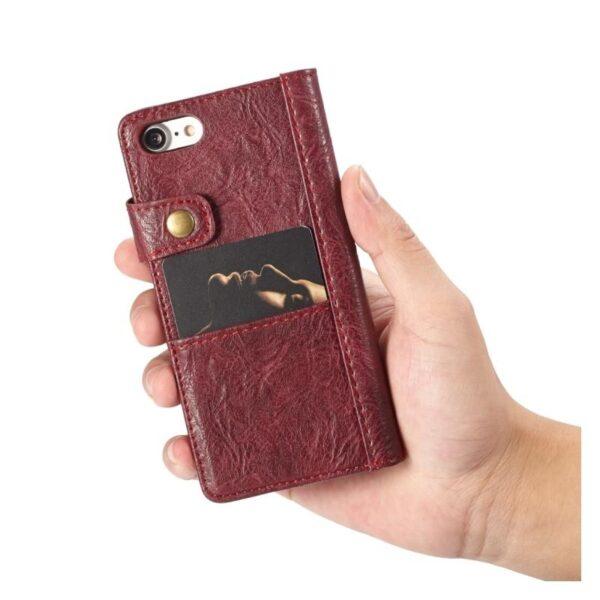 39589 - Кожаный чехол-кошелек CaseMe i8 для iPhone 8/ 7: слоты для карт и денег, PU-кожа Crazy Horse, бизнес-стиль
