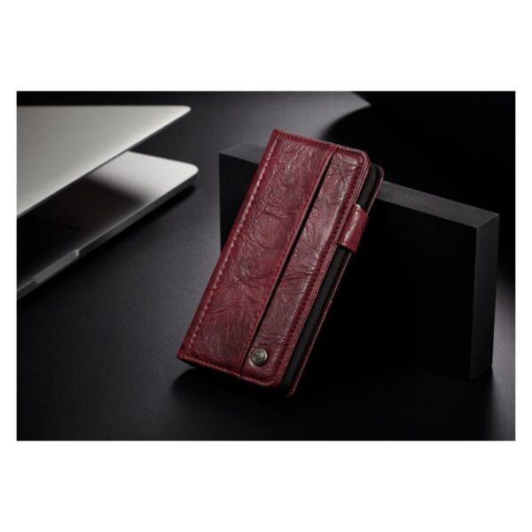 39590 - Кожаный чехол-кошелек CaseMe i8 для iPhone 8/ 7: слоты для карт и денег, PU-кожа Crazy Horse, бизнес-стиль
