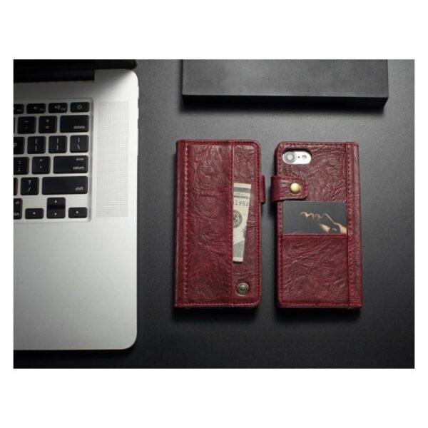 39591 - Кожаный чехол-кошелек CaseMe i8 для iPhone 8/ 7: слоты для карт и денег, PU-кожа Crazy Horse, бизнес-стиль