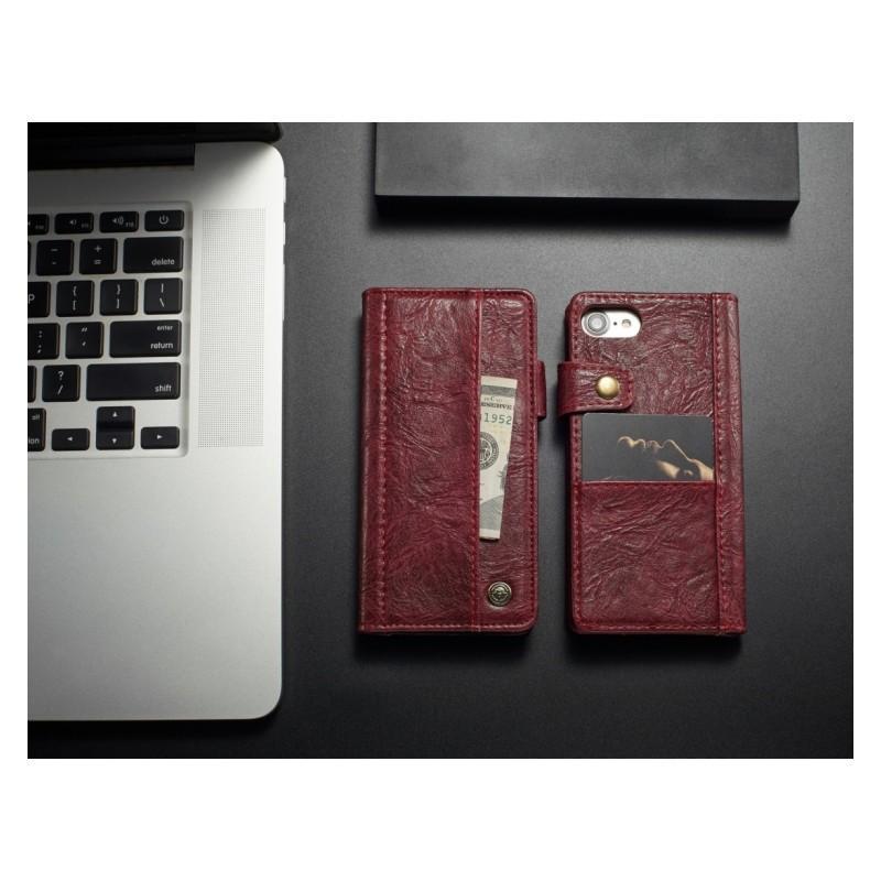 Кожаный чехол-кошелек CaseMe i8 для iPhone 8/ 7: слоты для карт и денег, PU-кожа Crazy Horse, бизнес-стиль 215122