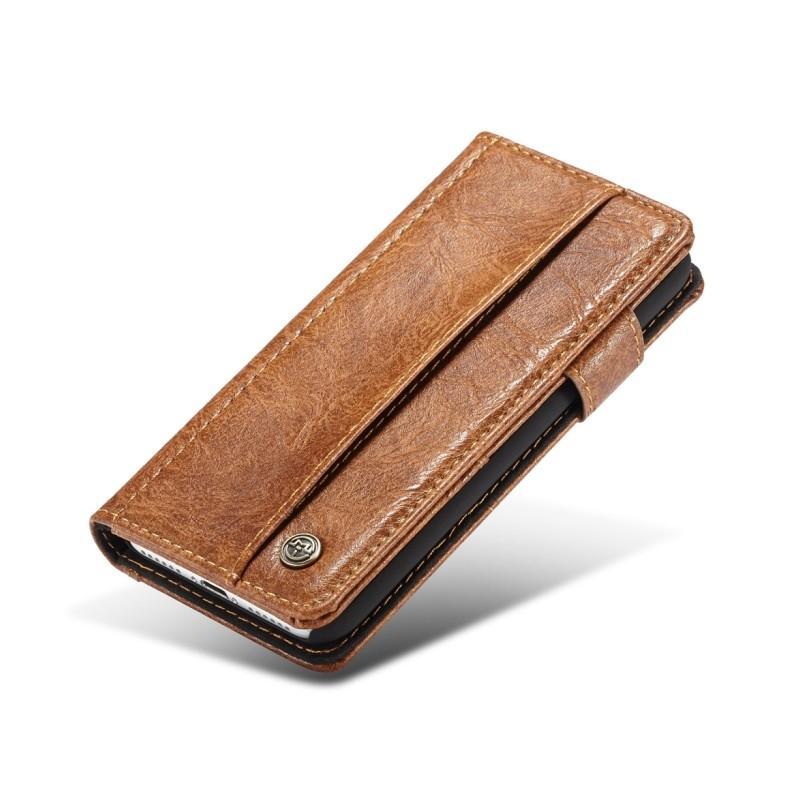 Кожаный чехол-кошелек CaseMe i8 для iPhone 8/ 7: слоты для карт и денег, PU-кожа Crazy Horse, бизнес-стиль 215124