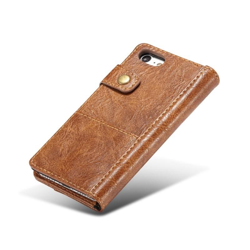 Кожаный чехол-кошелек CaseMe i8 для iPhone 8/ 7: слоты для карт и денег, PU-кожа Crazy Horse, бизнес-стиль 215125