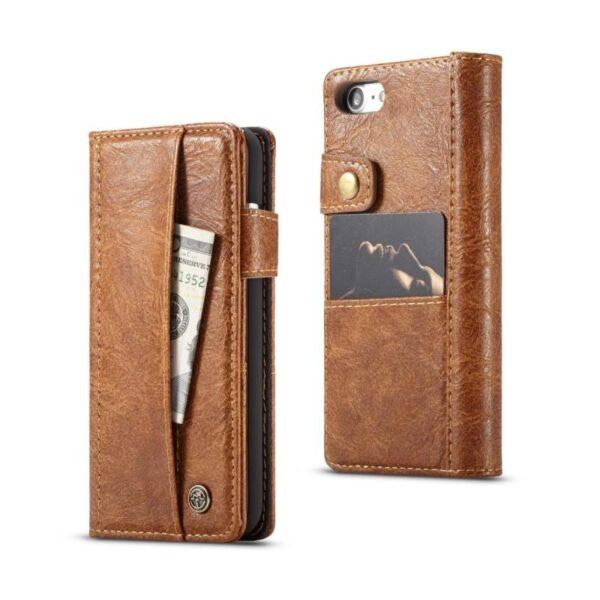 39595 - Кожаный чехол-кошелек CaseMe i8 для iPhone 8/ 7: слоты для карт и денег, PU-кожа Crazy Horse, бизнес-стиль