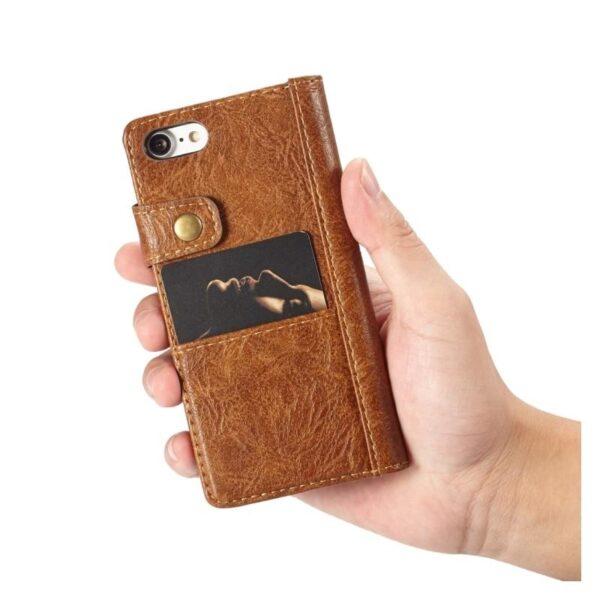 39599 - Кожаный чехол-кошелек CaseMe i8 для iPhone 8/ 7: слоты для карт и денег, PU-кожа Crazy Horse, бизнес-стиль