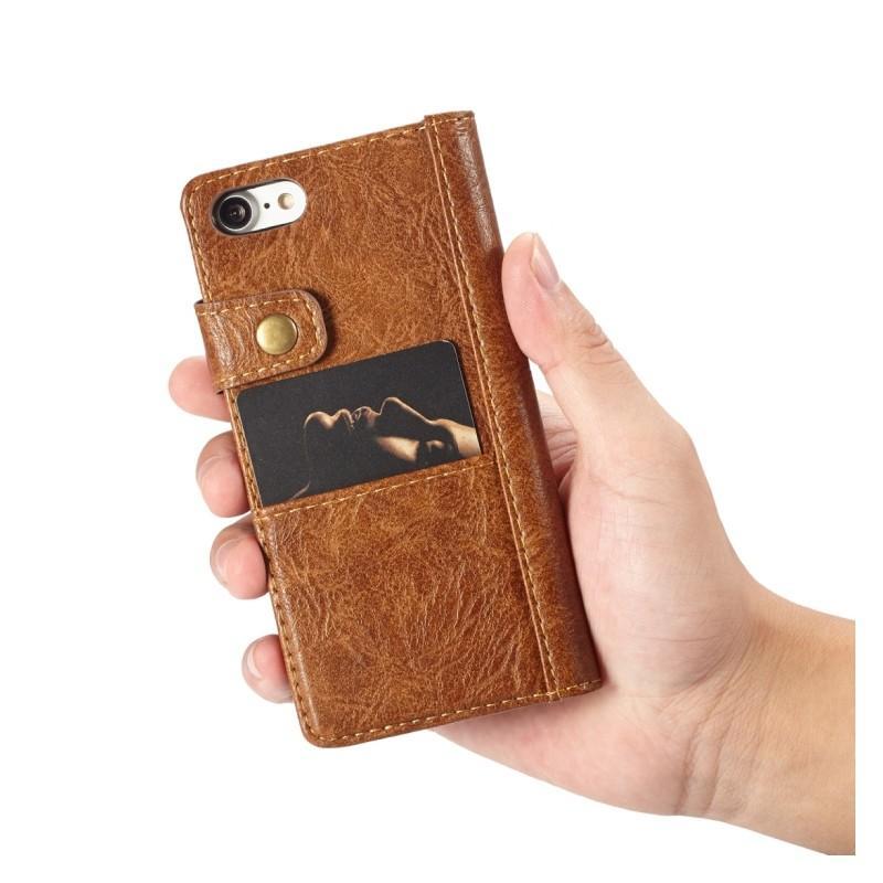 Кожаный чехол-кошелек CaseMe i8 для iPhone 8/ 7: слоты для карт и денег, PU-кожа Crazy Horse, бизнес-стиль 215130