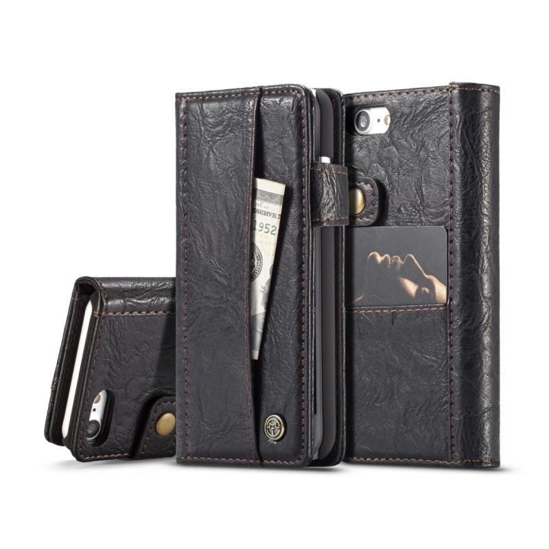 39603 - Кожаный чехол-кошелек CaseMe i8 для iPhone 8 Plus/ 7 Plus : слоты для карт и денег, PU-кожа Crazy Horse, бизнес-стиль