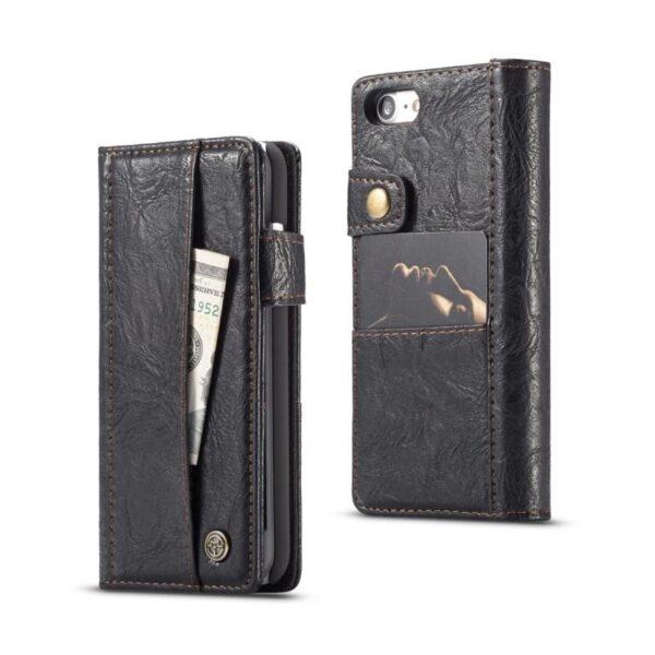 39606 - Кожаный чехол-кошелек CaseMe i8 для iPhone 8 Plus/ 7 Plus : слоты для карт и денег, PU-кожа Crazy Horse, бизнес-стиль