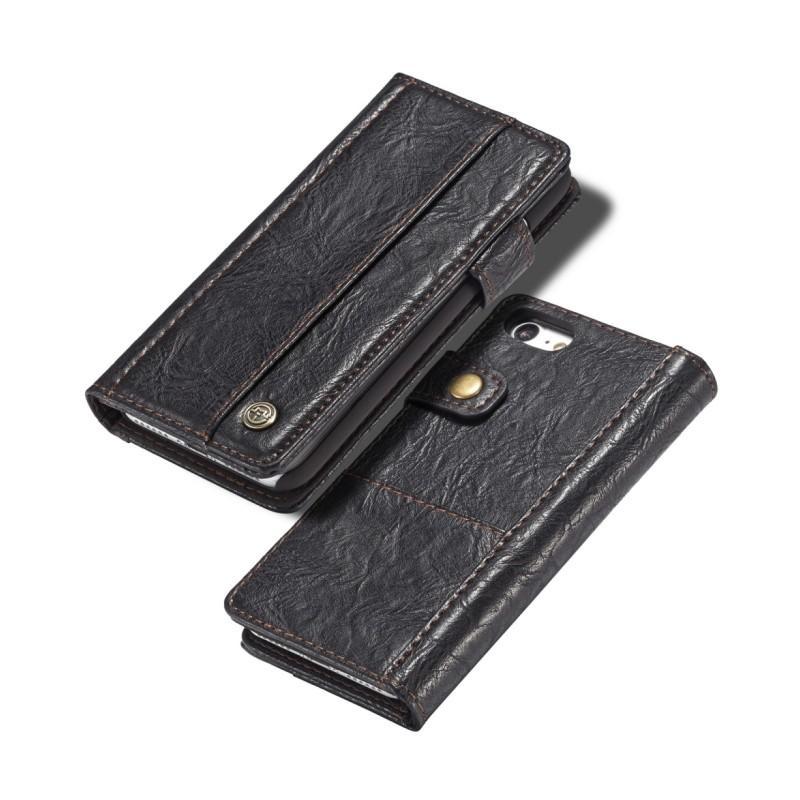 Кожаный чехол-кошелек CaseMe i8 для iPhone 8 Plus/ 7 Plus : слоты для карт и денег, PU-кожа Crazy Horse, бизнес-стиль 215137