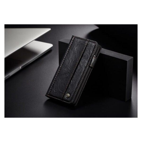 39611 - Кожаный чехол-кошелек CaseMe i8 для iPhone 8 Plus/ 7 Plus : слоты для карт и денег, PU-кожа Crazy Horse, бизнес-стиль