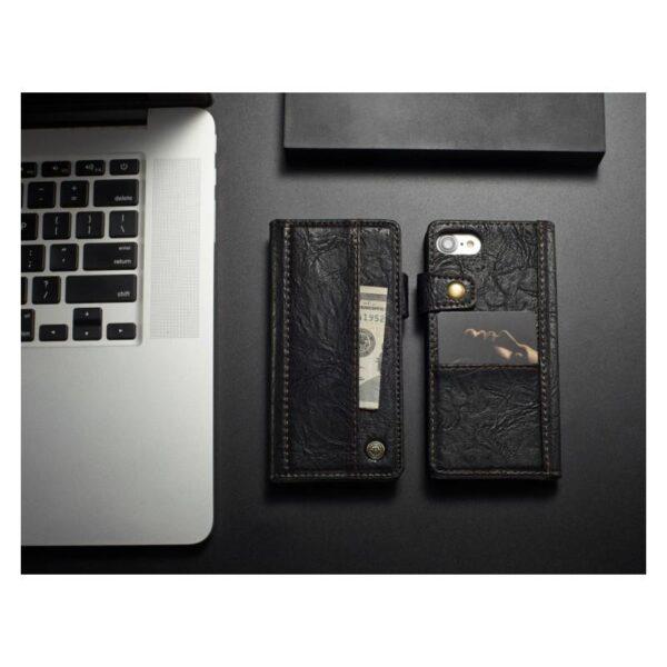 39612 - Кожаный чехол-кошелек CaseMe i8 для iPhone 8 Plus/ 7 Plus : слоты для карт и денег, PU-кожа Crazy Horse, бизнес-стиль