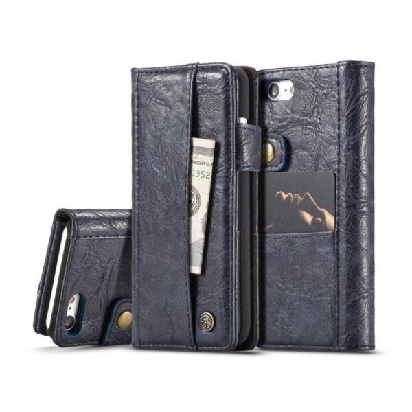 39613 - Кожаный чехол-кошелек CaseMe i8 для iPhone 8 Plus/ 7 Plus : слоты для карт и денег, PU-кожа Crazy Horse, бизнес-стиль