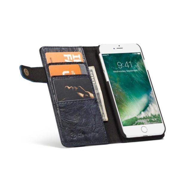 39619 - Кожаный чехол-кошелек CaseMe i8 для iPhone 8 Plus/ 7 Plus : слоты для карт и денег, PU-кожа Crazy Horse, бизнес-стиль
