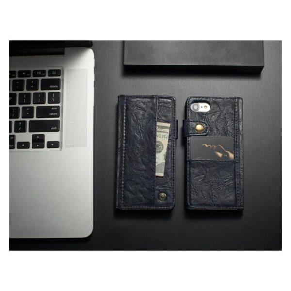 39622 - Кожаный чехол-кошелек CaseMe i8 для iPhone 8 Plus/ 7 Plus : слоты для карт и денег, PU-кожа Crazy Horse, бизнес-стиль