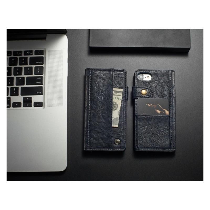 Кожаный чехол-кошелек CaseMe i8 для iPhone 8 Plus/ 7 Plus : слоты для карт и денег, PU-кожа Crazy Horse, бизнес-стиль 215152