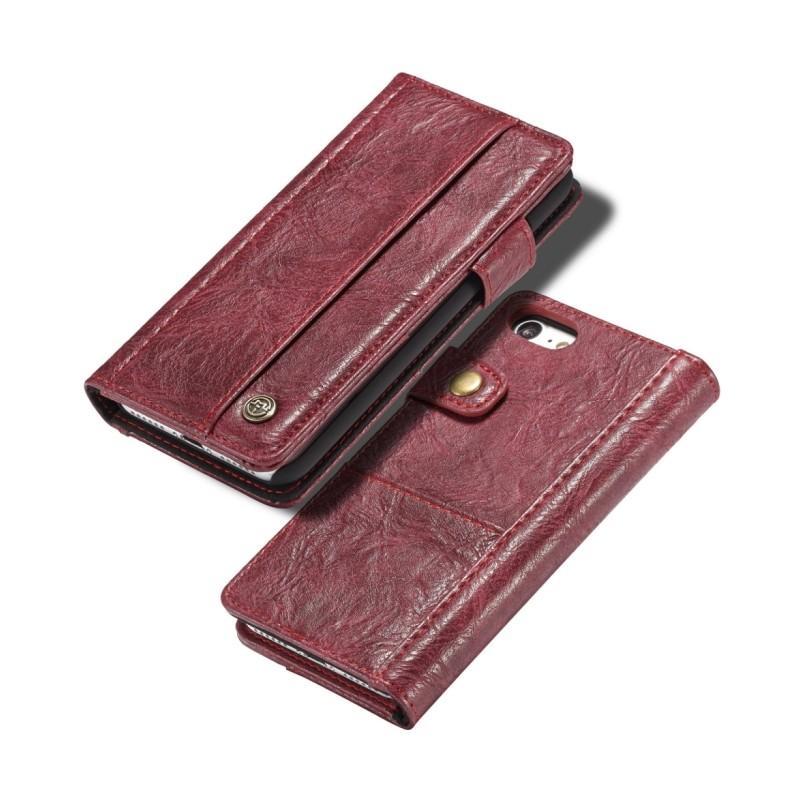 Кожаный чехол-кошелек CaseMe i8 для iPhone 8 Plus/ 7 Plus : слоты для карт и денег, PU-кожа Crazy Horse, бизнес-стиль 215157