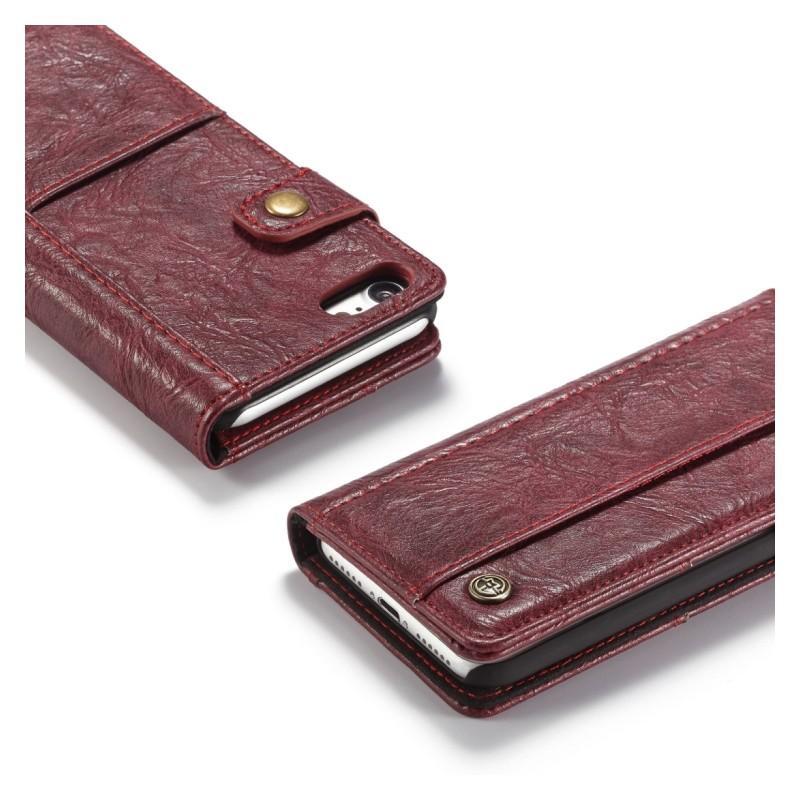 Кожаный чехол-кошелек CaseMe i8 для iPhone 8 Plus/ 7 Plus : слоты для карт и денег, PU-кожа Crazy Horse, бизнес-стиль 215158