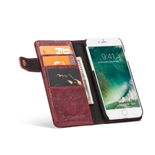 39629 - Кожаный чехол-кошелек CaseMe i8 для iPhone 8 Plus/ 7 Plus : слоты для карт и денег, PU-кожа Crazy Horse, бизнес-стиль