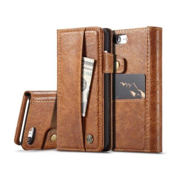 39633 - Кожаный чехол-кошелек CaseMe i8 для iPhone 8 Plus/ 7 Plus : слоты для карт и денег, PU-кожа Crazy Horse, бизнес-стиль