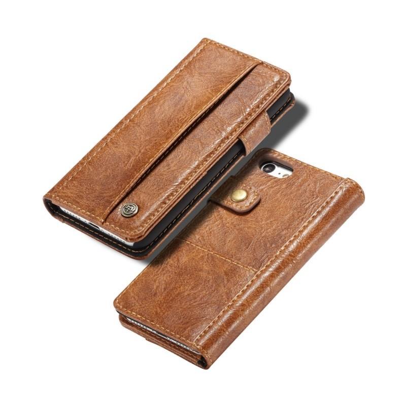 Кожаный чехол-кошелек CaseMe i8 для iPhone 8 Plus/ 7 Plus : слоты для карт и денег, PU-кожа Crazy Horse, бизнес-стиль 215167