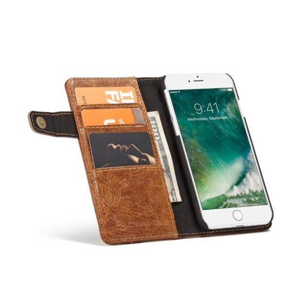39639 - Кожаный чехол-кошелек CaseMe i8 для iPhone 8 Plus/ 7 Plus : слоты для карт и денег, PU-кожа Crazy Horse, бизнес-стиль