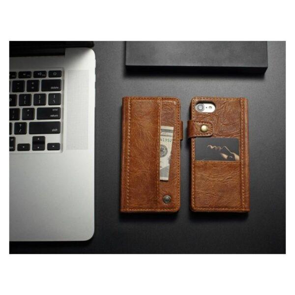 39642 - Кожаный чехол-кошелек CaseMe i8 для iPhone 8 Plus/ 7 Plus : слоты для карт и денег, PU-кожа Crazy Horse, бизнес-стиль